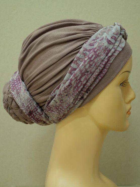 Wrzosowy drapowany turban z dekoracją