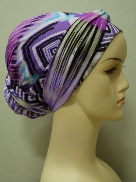 Fioletowy turban z jedwabnej żorżety