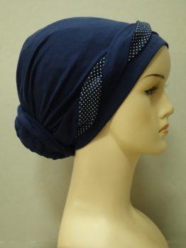 Granatowy turban z plecioną dekoracją w groszki