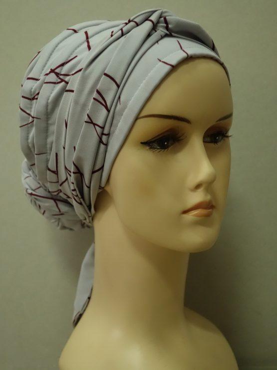 Popielaty turban z jedwabnej żorżety