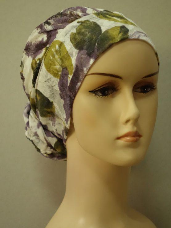 Ecru drapowany turban w kwiaty