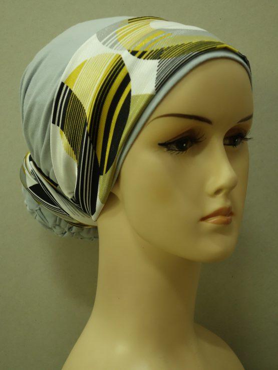 Popielaty turban z satynową dekoracją