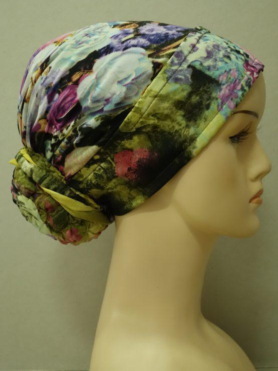 Kolorowy turban z jedwabnej żorżety w kwiaty