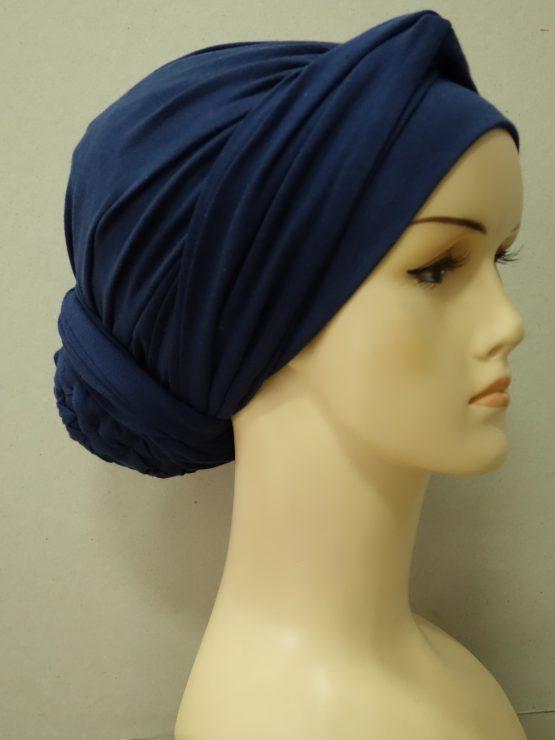 Granatowy drapowany turban z dekoracją