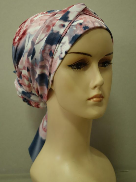 Różowo-niebieski turban z żorżety w kwiaty