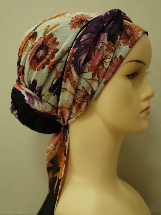 Kolorowy turban w kwiaty z żorżety