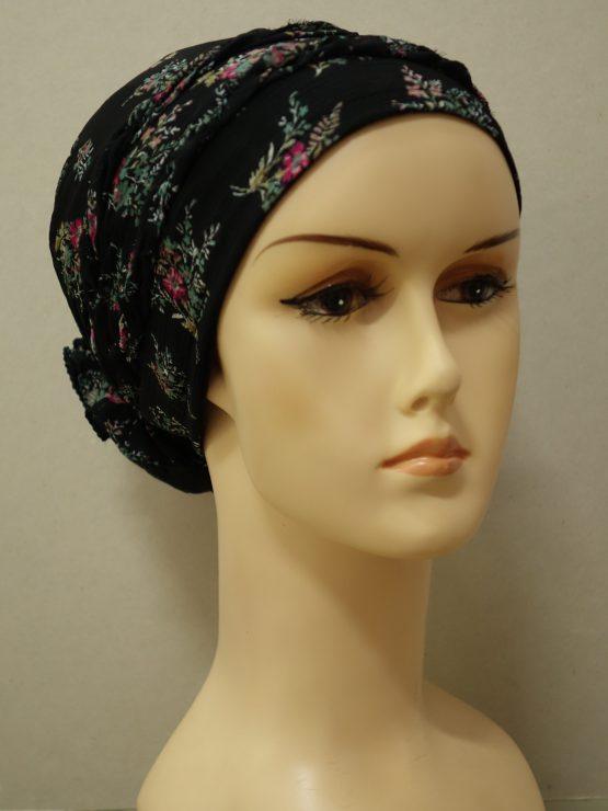Czarny turban w drobne kwiatki