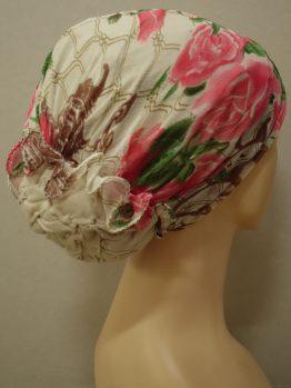 Beżowy turban z indyjskiej jedwabnej żorżety w kwiaty
