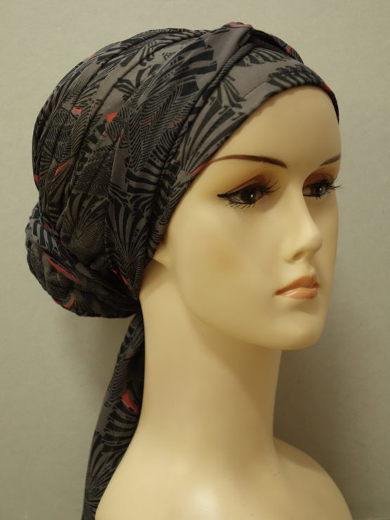 Brązowy turban we wzory z żorżety