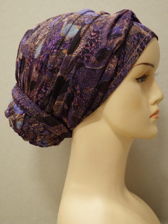 Fioletowy turban z żorżety