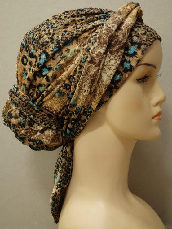 Brązowa panterka turban drapowany