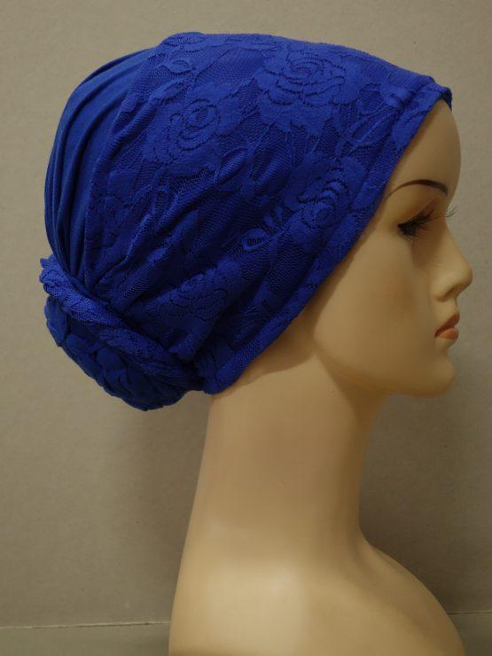 Szafirowy turban z koronką