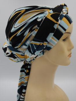Kolorowy drapowany turban z dekoracją
