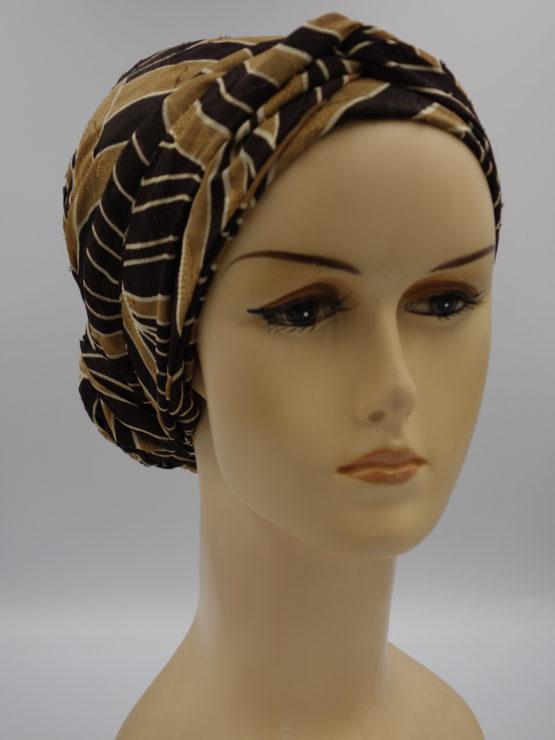 Beżowo-brązowy turban we wzory