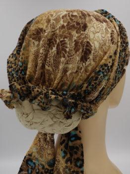 Brązowa panterka turban z dekoracją