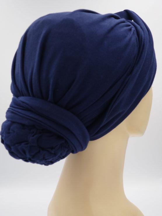 Granatowy drapowany turban
