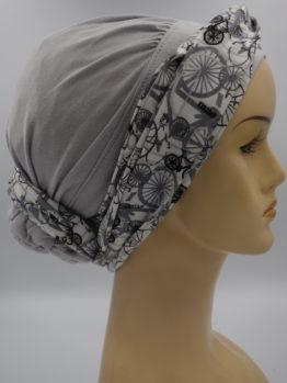 Popielaty drapowany turban