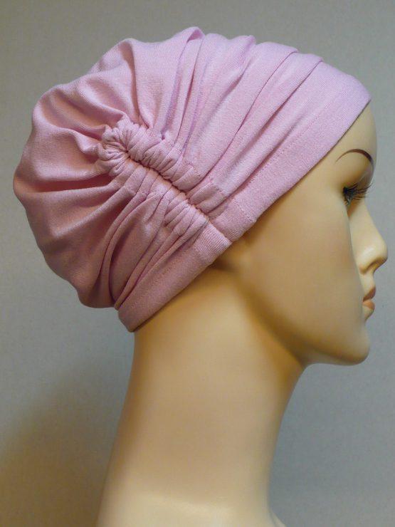 Różowy czepek drapowany