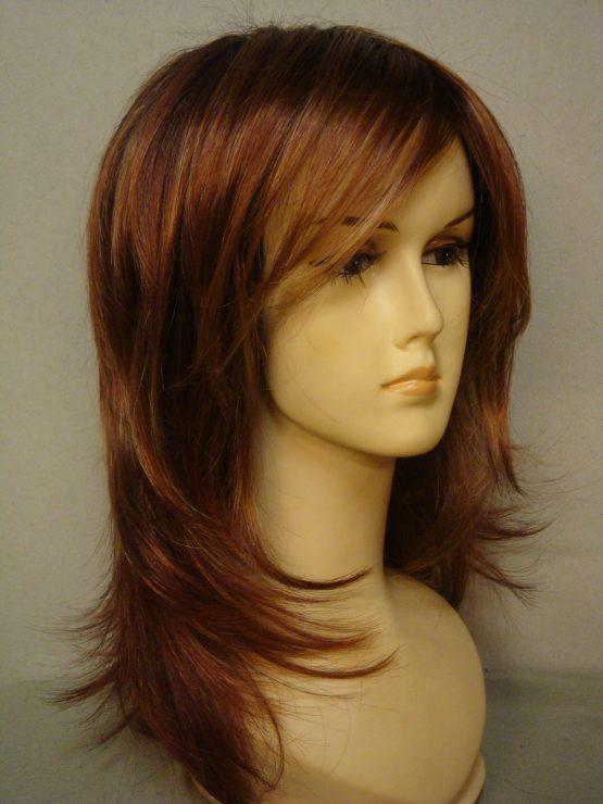 Długa peruka w kolorze rudym z refleksami