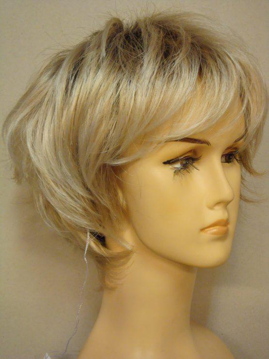 Krótka peruka jasny blond pocieniowana