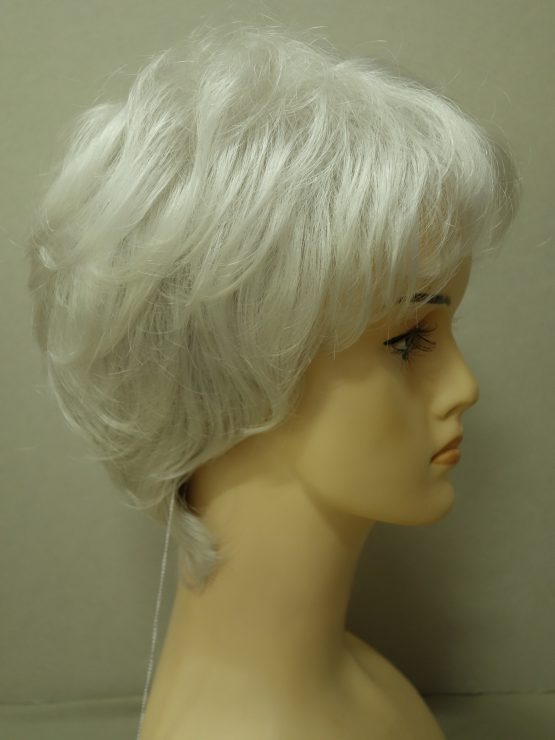 Krótka peruka siwa kręcona
