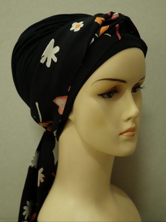 Czarna chusta modny wzór z dekoracją w kwiaty