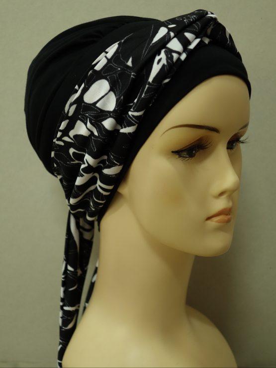 Czarna chusta modny wzór z dekoracją