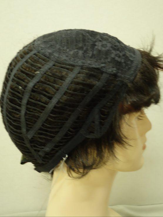 Krótka peruka ciemny brąz z rudymi refleksami