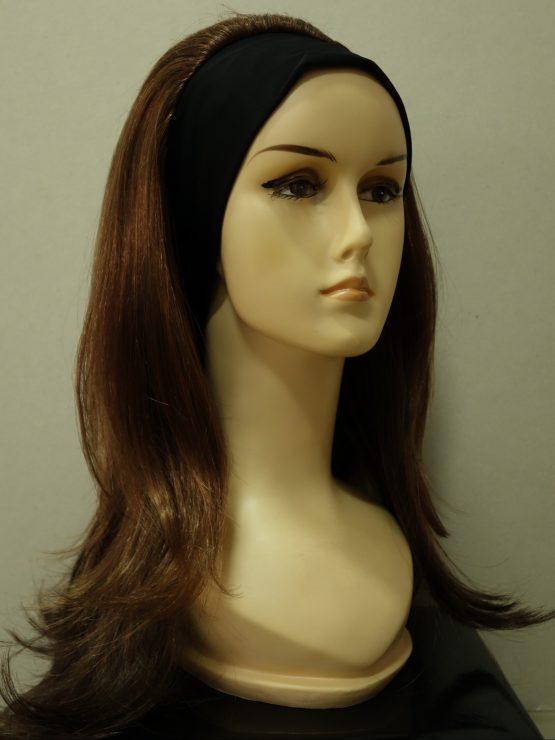 Długa peruka na opasce orzechowa z ciemniejszymi końcówkami