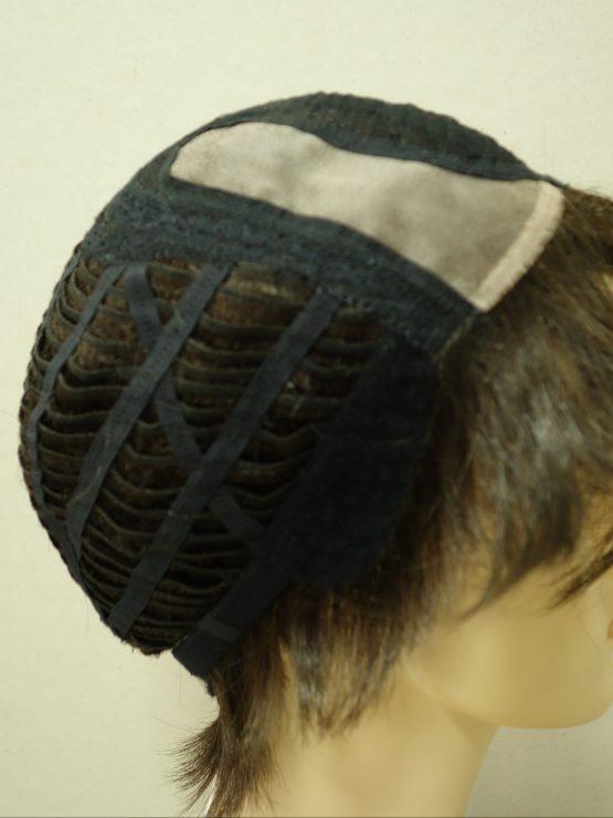 Krótka peruka ciemny brąz asymetryczna
