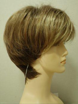 Krótka peruka ciemny blond z jaśniejszą grzywką asymetryczna
