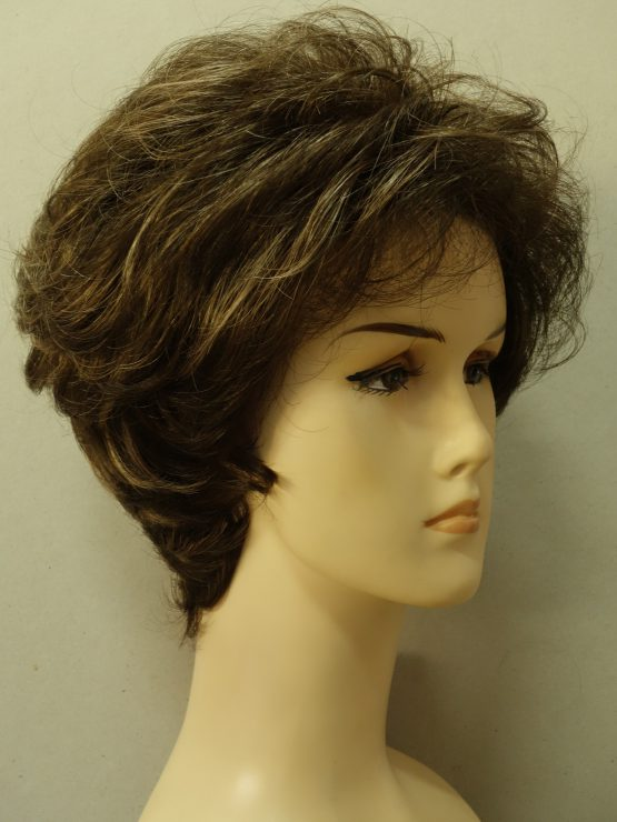 Krótka peruka kręcona brąz z refleksami