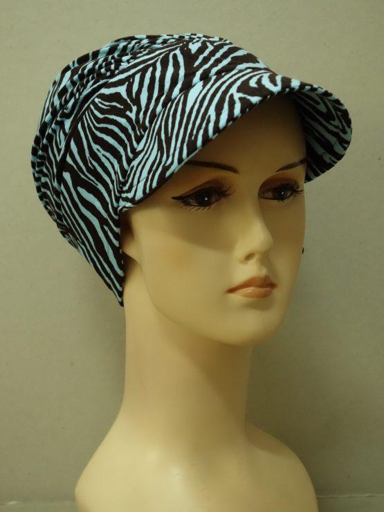 Niebieska zebra modna czapka z daszkiem