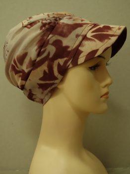 Bordowo-beżowa modna czapka z daszkiem