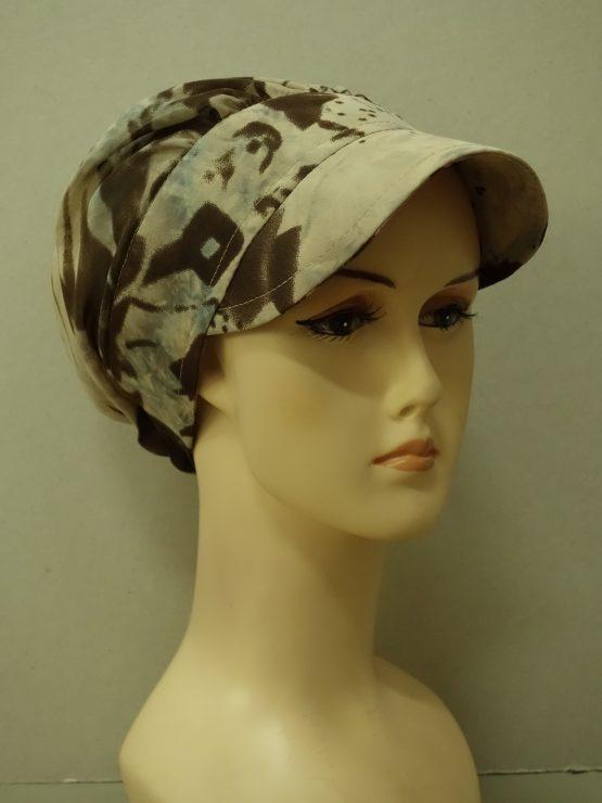 Brązowo-beżowa modna czapka z daszkiem
