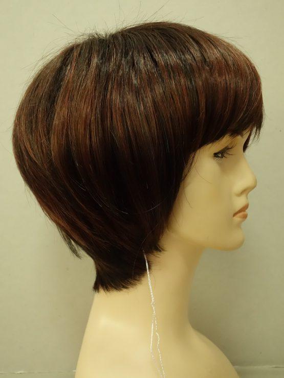 Krótka peruka brąz z rudymi pasemkami