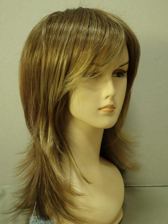 Długa peruka ciemny blond z refleksami