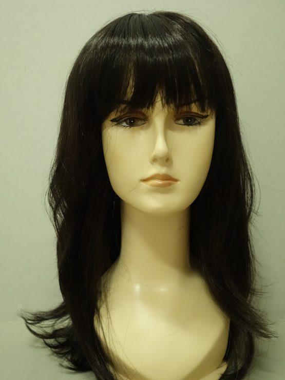 Długa peruka w kolorze ciemnego brązu