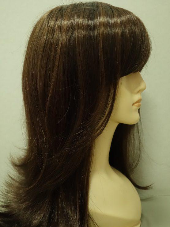 Długa peruka w kolorze orzechowym