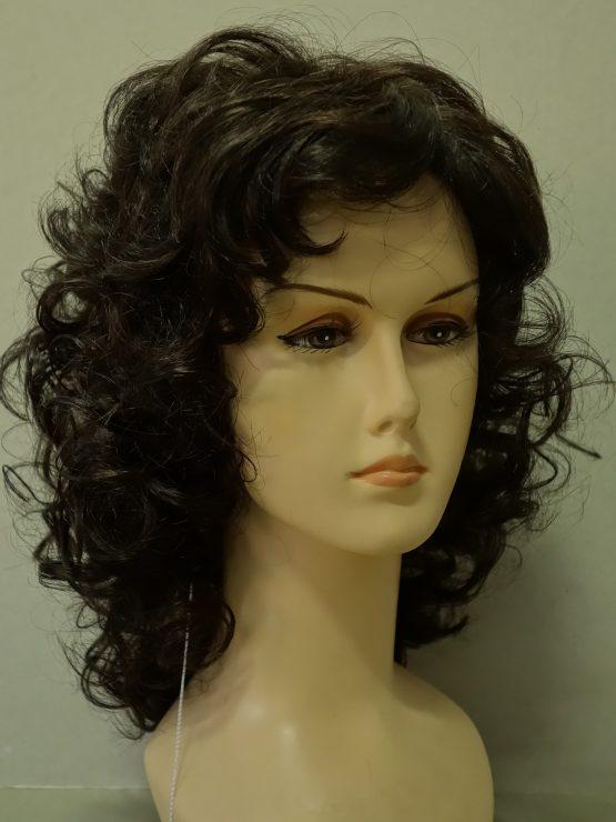 Półdługa peruka kręcona ciemny brąz