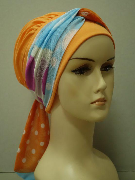 Pomarańczowa chusta modny wzór z kolorową dekoracją