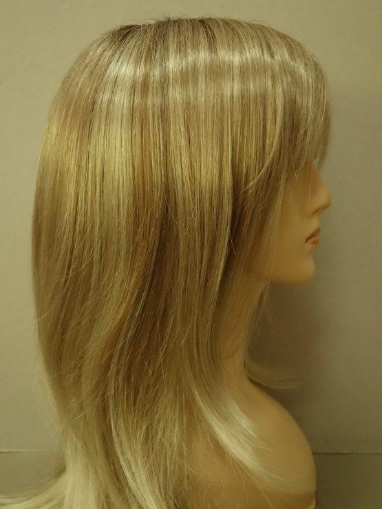 Długa peruka jasny blond na ciemnejszej podstawie