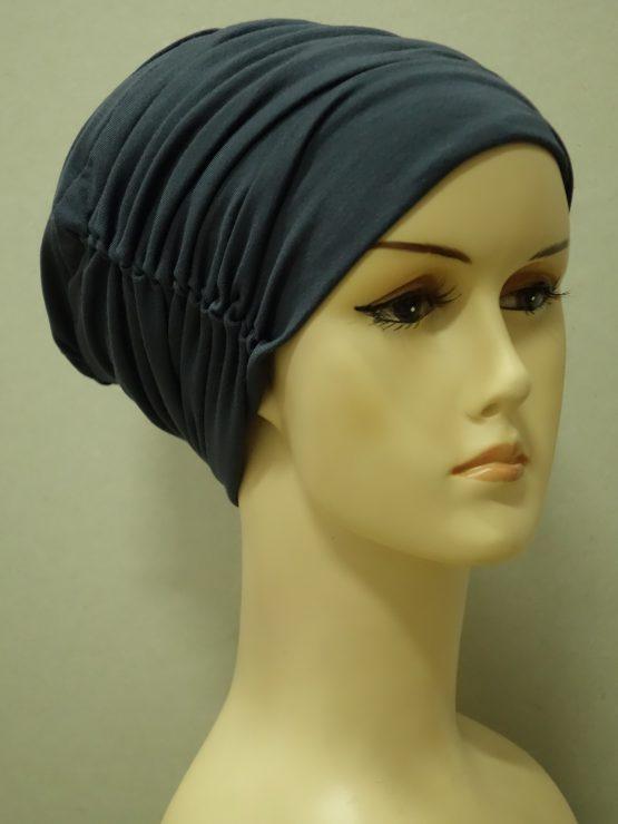Grafitowa drapowana czapka