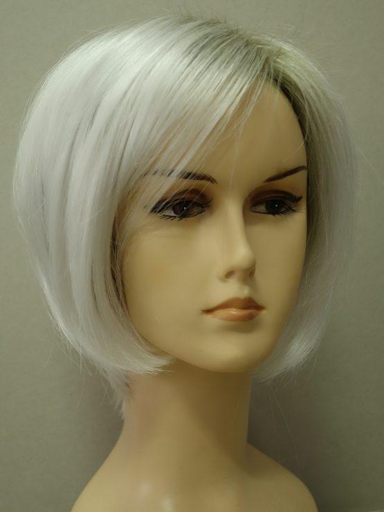 Krótka peruka siwa biel z delikatnym odrostem