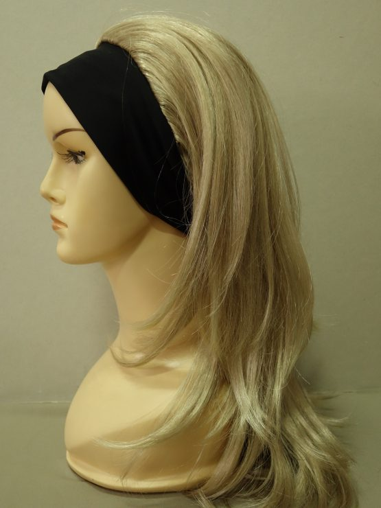 Długa peruka na opasce blond