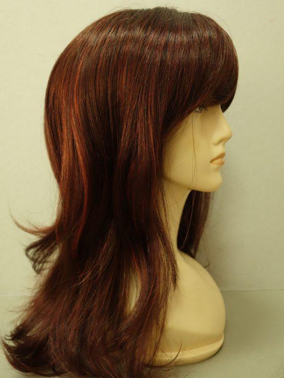 Długa peruka rubinowa z refleksami