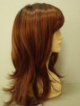 Długa peruka ruda z czerwonymi refleksami