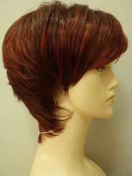 Krótka peruka czerwień z refleksami