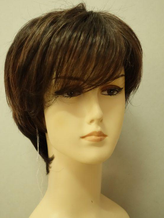 rótka peruka brąz z refleksami asymetryczna