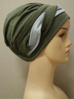 Khaki modna czapka z dekoracją